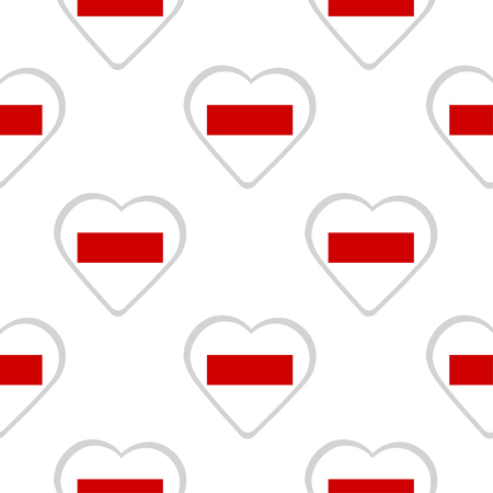 Seamless pattern of hearts with the flag of Sharjah and Ras-al-Khaimah.