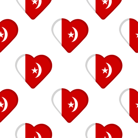 Seamless pattern from the hearts with the flag of Umm al-Quwain. Vector illustration