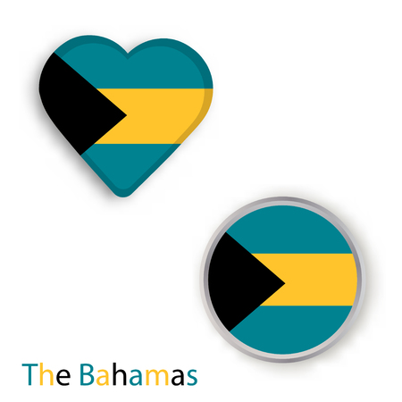 Heart and circle symbols with flag of the Bahamas. Vector illustration Illustration