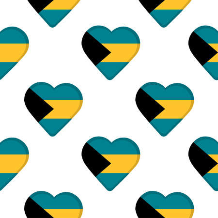 Seamless pattern from the hearts with flag of the Bahamas. Vector illustration Ilustração