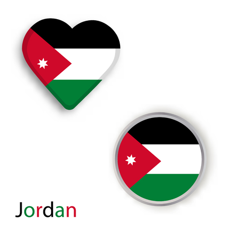 Heart And Circle Symbols With Flag Of Jordan Vector Illustration