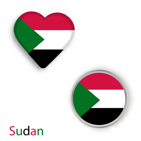 Heart and circle symbols with flag of the Sudan. Vector illustration Illustration