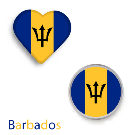 Heart and circle symbols with flag of Barbados.