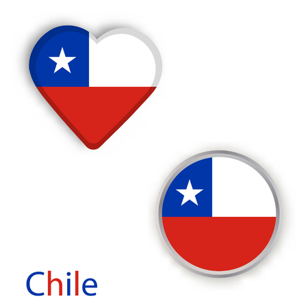 Heart and circle symbols with flag of Chile.