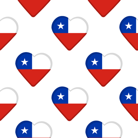 Seamless pattern from the hearts with flag of Chile. Vector illustration