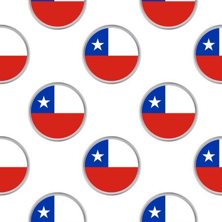 Seamless pattern from the circles with flag of Chile. Vector illustration