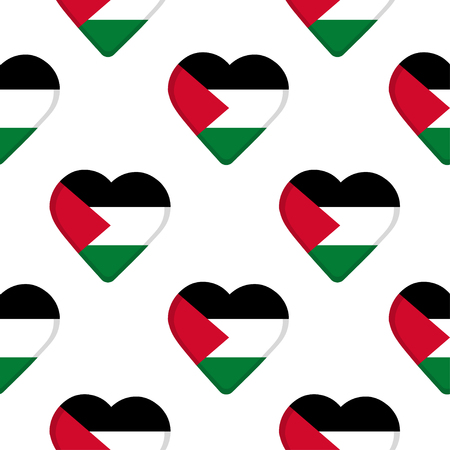 Seamless pattern from the hearts with flag of Palestine.