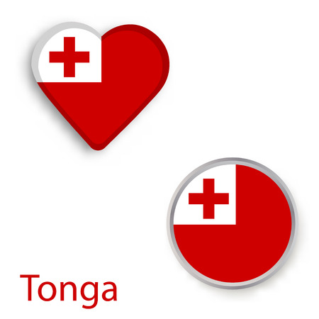 Heart and circle symbols with flag of Tonga. Vector illustration