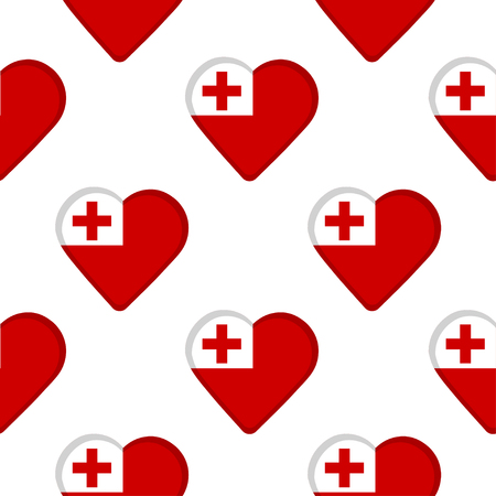 Seamless pattern from the hearts with flag of Tonga. Vector illustration