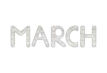 March. Creative hand drawn letters. Coloring page. Vector illustration Illustration