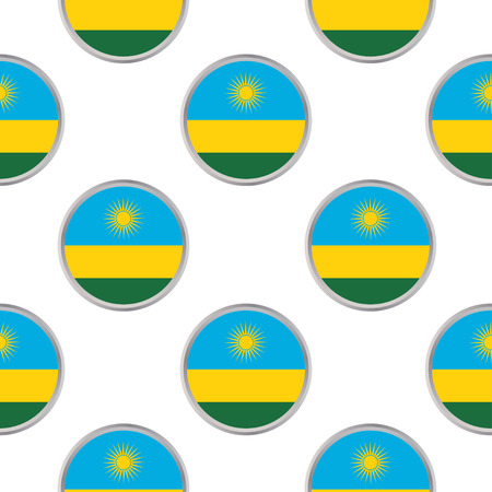 Seamless pattern from the circles with flag of Rwanda. Vector illustration