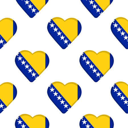Seamless pattern from the hearts with flag of Bosnia and Herzegovina. Vector illustration.