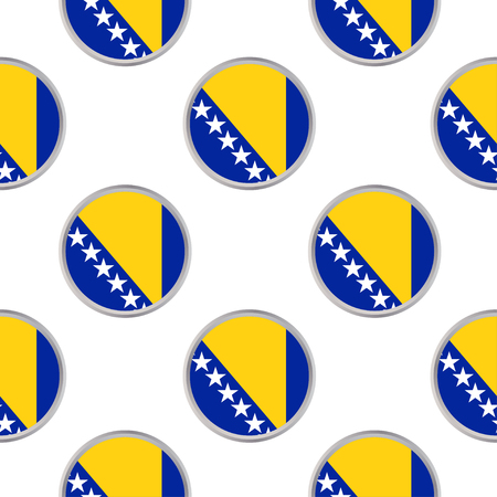 Seamless pattern from the circles with flag of Bosnia and Herzegovina. Vector illustration.