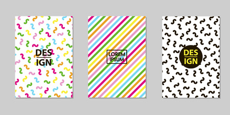 Creative multicolor backgrounds set. Trendy templates for card, banner, poster. Vector illustration  イラスト・ベクター素材