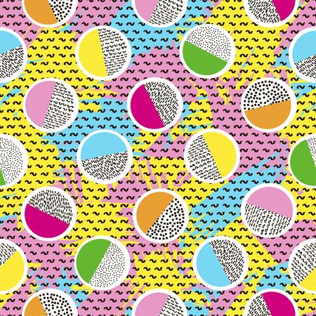 Buntes nahtloses Muster von den Kreisen auf der hellen Bürste streicht Hintergrund und schwarze Punkte. 80er - 90er Jahre Designstil. Modisch. Vektor-illustration Vektorgrafik