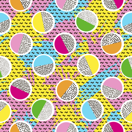 Colorful seamless pattern from circles on the bright brush strokes background and black dots. 80s - 90s years design style. Trendy. Vector illustration
