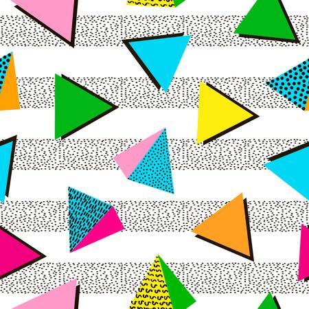 Coloridos patrones geométricos sin fisuras. Fondo brillante Estilo de diseño de los años 80 y 90. De moda. Ilustración vectorial