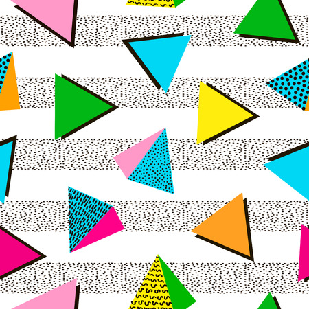 Colorful geometric seamless pattern. Bright background. 80's - 90's years design style. Trendy. Vector illustration