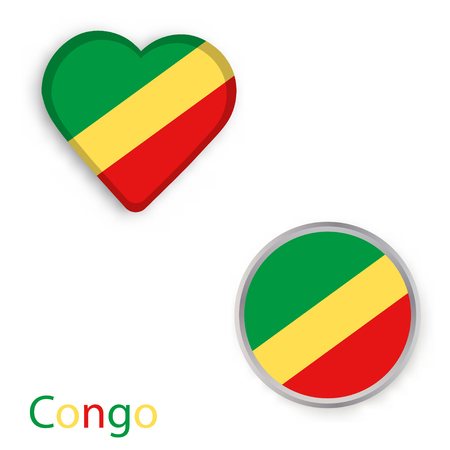 Heart and circle symbols with flag of Republic of the Congo vector illustration.