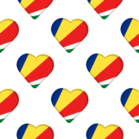 Seamless pattern from the hearts with flag of Republic of Seychelles. Vector illustration 일러스트