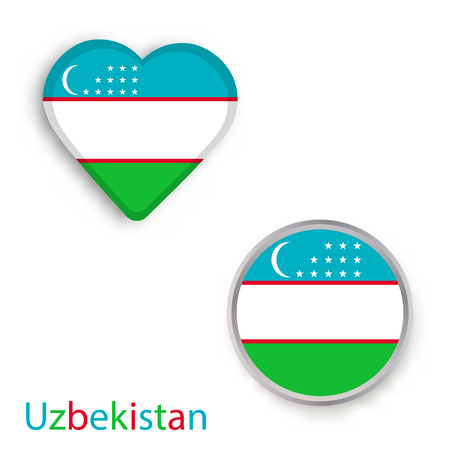 Heart and circle symbols with flag of Republic of Uzbekistan. Vector illustration