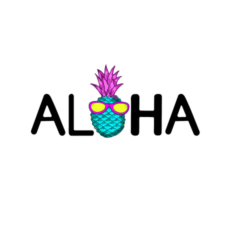 Aloha word and creative pineapple with sunglasses. Vector illustration Ilustração