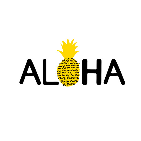 Aloha word and creative pineapple.  Vector illustration Çizim