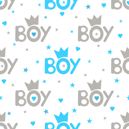 Word boy, crowns, hearts and stars seamless pattern vector illustration.