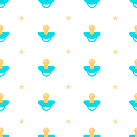 Seamless pattern with blue pacifier and yellow stars on the white background. Vector illustration Ilustracja