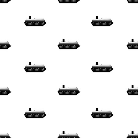 Seamless pattern with the black ship. Vector illustration