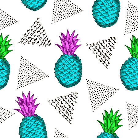 Seamless pattern with colorful pineapples and black triangles. Vector illustration