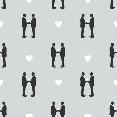 Seamless pattern with silhouettes of the grooms and hearts. Same-sex marriage. Vector illustration
