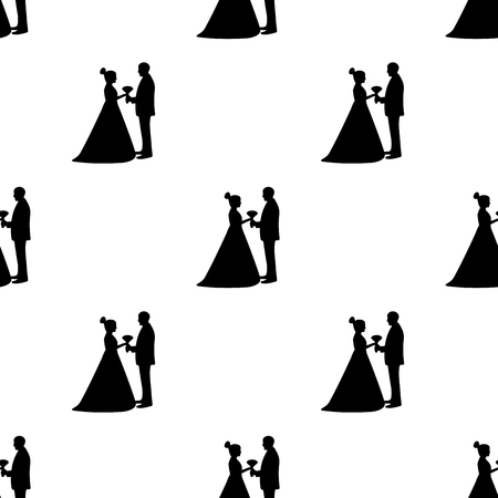 Seamless pattern with silhouettes of the bride and groom on the white background. Vector illustration