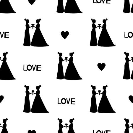 Patrón sin fisuras con siluetas negras de las novias, corazones y palabras de amor. El matrimonio del mismo sexo. Ilustración vectorial