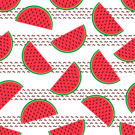 Seamless pattern with colorful watermelons. Vector illustration