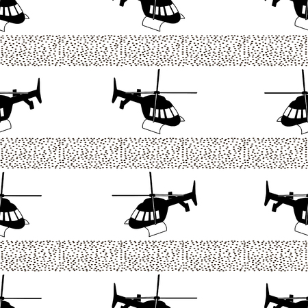 Seamless pattern with black helicopters and dots on the white background. Vector illustration