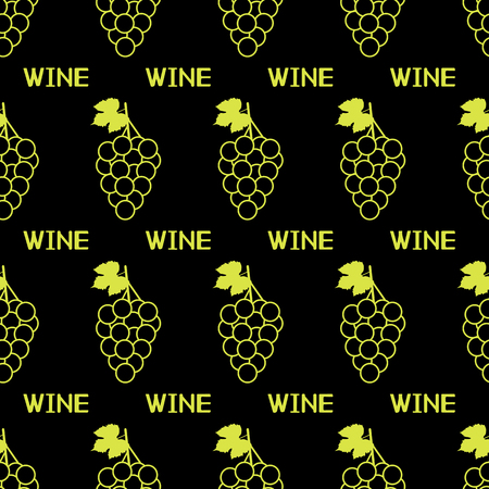 Seamless pattern with green grapes,leaves and words Wine on the black background. Vector illustration Ilustração