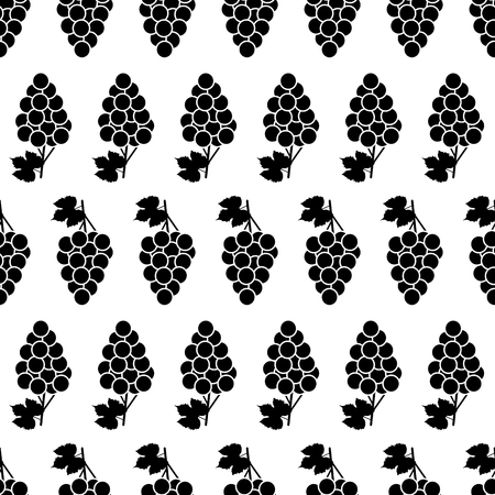 Seamless pattern with black grapes and  leaves on the white background. Vector illustration