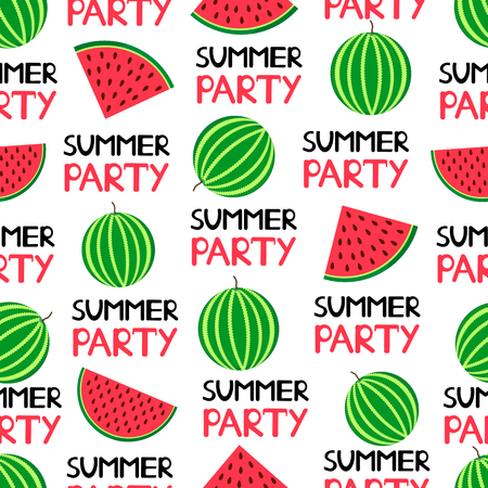 Seamless pattern with colorful watermelons and text Summer party. Vector illustration