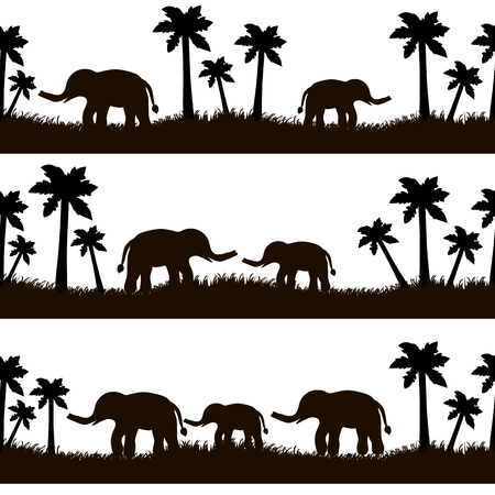 Seamless pattern with black elephants and their babies, grass, palm trees on the white background. Vector illustration Vettoriali