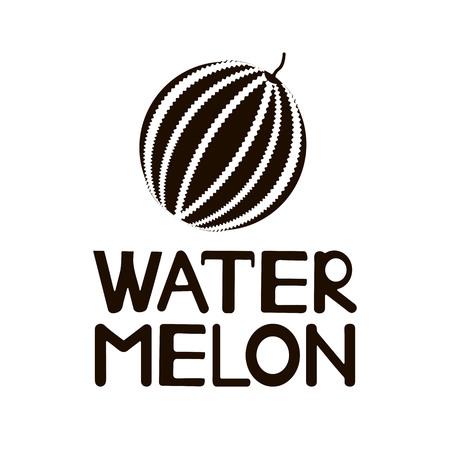 Black word Watermelon and icon. Vector illustration Vettoriali
