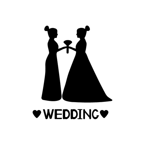 Black silhouettes of the brides, hearts and word Wedding. Same-sex marriage. Vector illustration