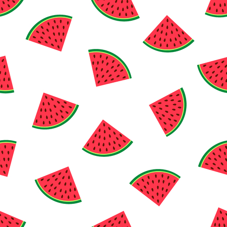 Seamless pattern with colorful watermelons slices . Vector illustration