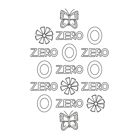 Numeral and word zero, butterfly, flowers. Coloring page. Vector illustration