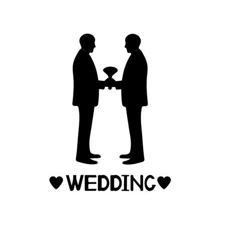 Siluetas negras de novios, corazones y boda de palabra. El matrimonio del mismo sexo. Ilustración vectorial