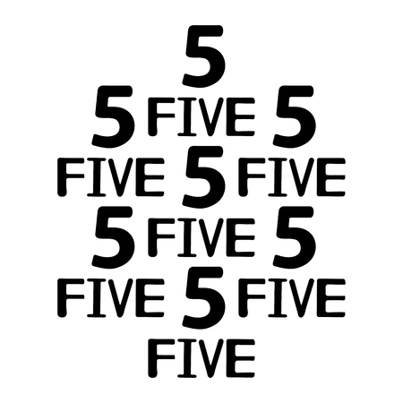 Black numerals and words five. Vector illustration