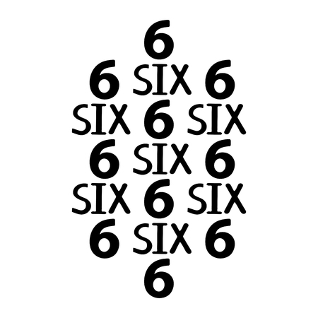 Black numerals and words six. Vector illustration