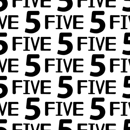Seamless pattern with black numerals and words five on the white background. Vector illustration