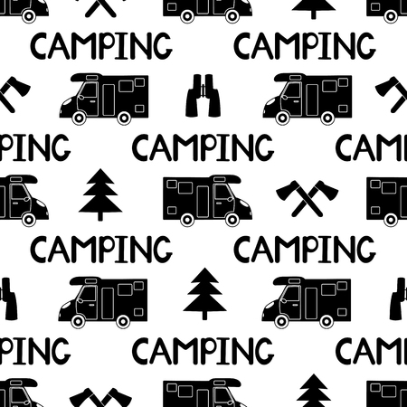 Seamless pattern with black car, ax ,fir-tree and words camping on the white background. Vector illustration