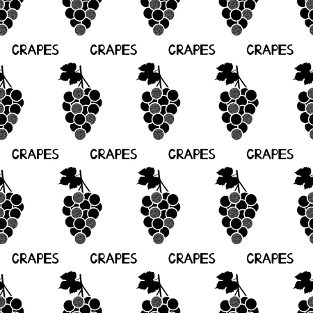 Seamless pattern with black grapes and words grapes on the white background. Vector illustration Ilustração